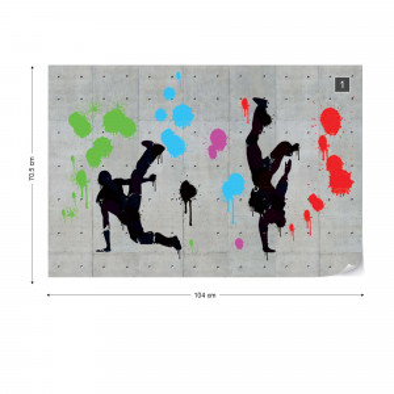 Graffiti Concrete Wall Dancers Photo Wallpaper Wall Mural