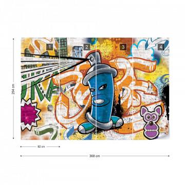 Graffiti Street Art Blue Photo Wallpaper Wall Mural