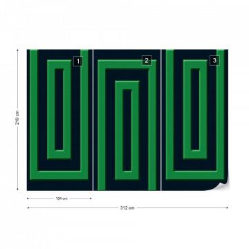Green And Black Geometric Pattern Photo Wallpaper Wall Mural