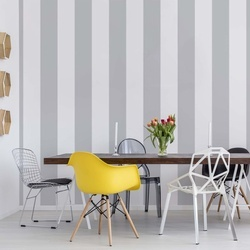 Grey And White Stripes Photo Wallpaper Wall Mural