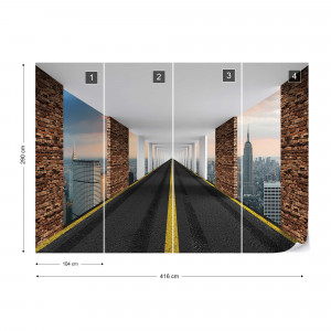 Highway To New York City Photo Wallpaper Wall Mural