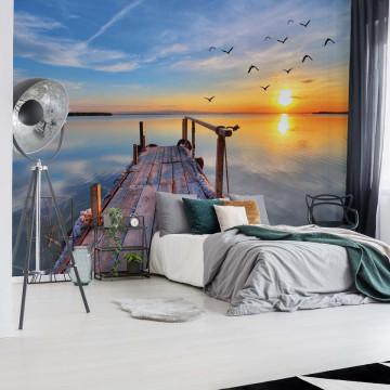 Lake Sunset Pier Photo Wallpaper Wall Mural