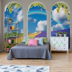 Lavender Field 3D Archway View Photo Wallpaper Wall Mural