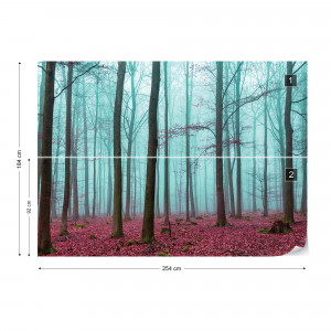 Misty Forest Photo Wallpaper Wall Mural