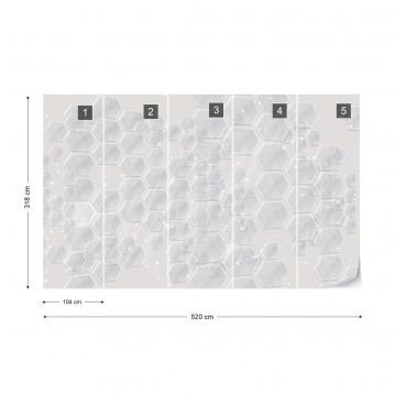 Modern 3D Grey Hexagonal Pattern Photo Wallpaper Wall Mural
