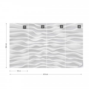 Modern 3D Ripples Design White And Grey Photo Wallpaper Wall Mural