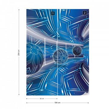 Modern 3D Tech Tunnel Blue Photo Wallpaper Wall Mural