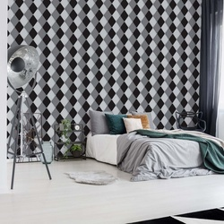 Modern Black And White Diamond Pattern Photo Wallpaper Wall Mural