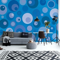 Modern Blue Cirlces Pattern Photo Wallpaper Wall Mural