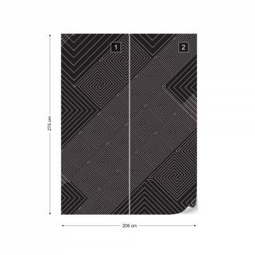Modern Geometric Pattern Black And Grey Photo Wallpaper Wall Mural