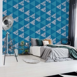 Modern Geometric Triangle Pattern Blue Photo Wallpaper Wall Mural