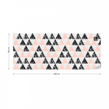 Modern Geometric Triangle Pattern Pink Black Photo Wallpaper Wall Mural