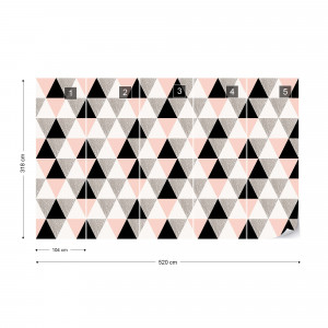 Modern Pink And Black Geometric Triangle Pattern Photo Wallpaper Wall Mural