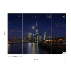 Moonlight Over Lower Manhattan Photo Wallpaper Mural
