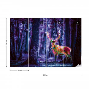 Mystical Stag In Forest At Night Photo Wallpaper Wall Mural