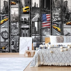 New York Black And White Film Negatives Photo Wallpaper Wall Mural