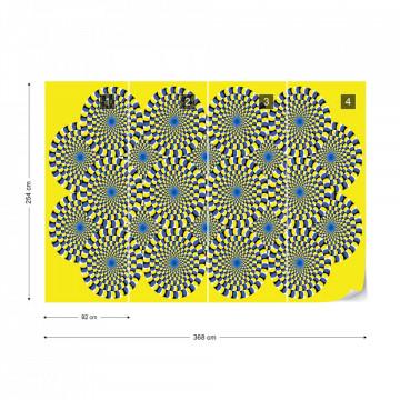 Optical Illusion Yellow Photo Wallpaper Wall Mural