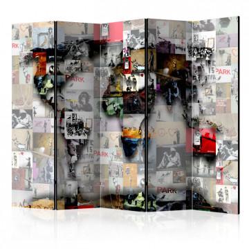 Paravan - Room divider – World map – Banksy