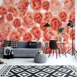 Pink Roses Flowers Photo Wallpaper Wall Mural