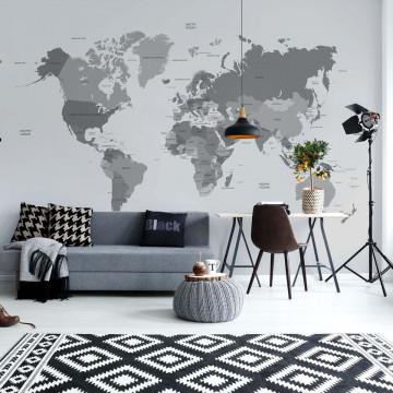 Political World Map Monochrome