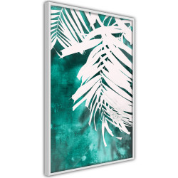 Poster - White Palm on Teal Background
