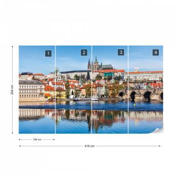 Prague City River Reflections Photo Wallpaper Wall Mural