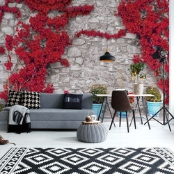 Red Flowers Old Stone Wall Photo Wallpaper Wall Mural