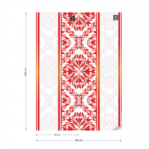 Red Grey And White Ornamental Pattern Photo Wallpaper Wall Mural