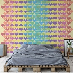 Retro Hearts Pattern Colourful Photo Wallpaper Wall Mural
