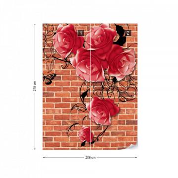 Roses Brick Wall Background Photo Wallpaper Wall Mural