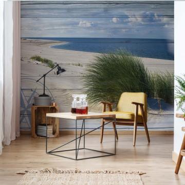 Rustic Coastal Wood Planks Beach Photo Wallpaper Wall Mural