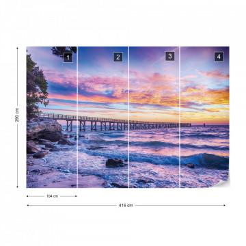 Sunset Beach Pier Photo Wallpaper Wall Mural