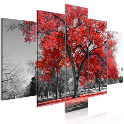 Tablou - Autumn in the Park (5 Parts) Wide Red