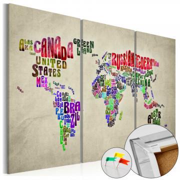 Tablou din plută - Colorful Countries [Cork Map]
