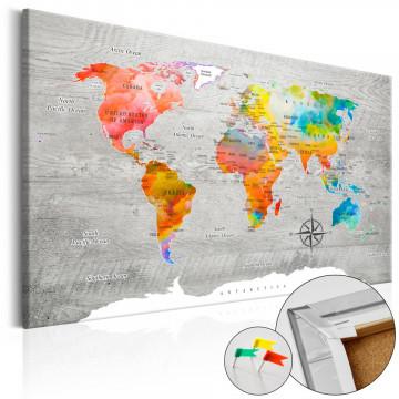 Tablou din plută - Multicolored Travels [Cork Map]