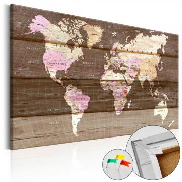 Tablou din plută - Wooden World [Cork Map]