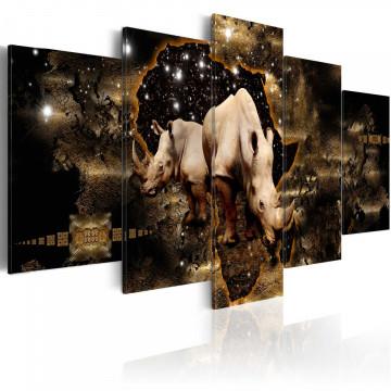 Tablou - Golden Rhino (5 Parts) Wide