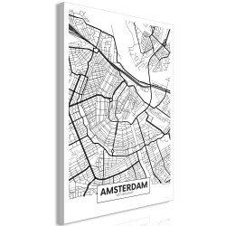Tablou - Map of Amsterdam (1 Part) Vertical