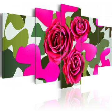 Tablou - Neon roses - 5 pieces