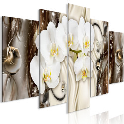 Tablou - Orchid Waterfall (5 Parts) Wide Brown
