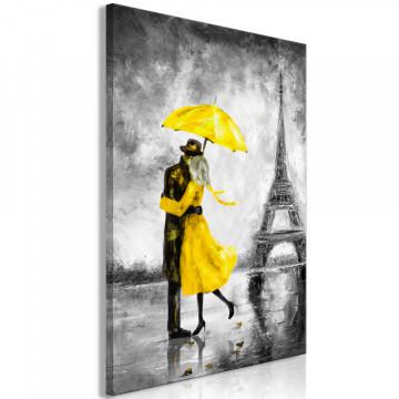 Tablou - Paris Fog (1 Part) Vertical Yellow