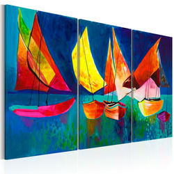 Tablou pictat manual - Colourful sailboats