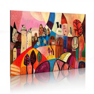 Tablou pictat manual - Colourful village