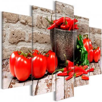Tablou - Red Vegetables (5 Parts) Brick Wide