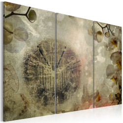 Tablou - Vintage, clock and orchid - triptych