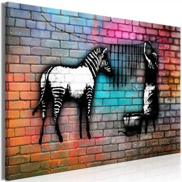 Tablou - Washing Zebra - Colourful Brick (1 Part) Wide