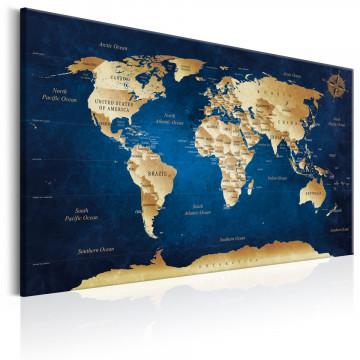 Tablou - World Map: The Dark Blue Depths