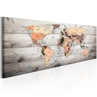 Tablou - World Maps: Wooden Travels