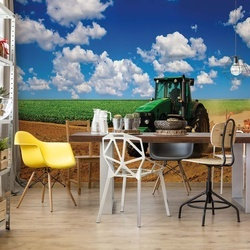 Tractor In Field Countryside Photo Wallpaper Wall Mural