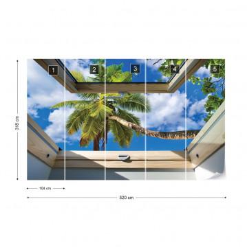 Tropical Beach 3D Skylight Window View Photo Wallpaper Wall Mural